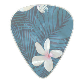 Navy palm leaves with frangipani pearl celluloid guitar pick