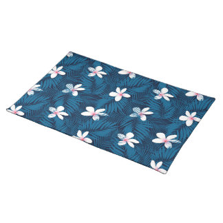 Navy palm leaves with frangipani placemat