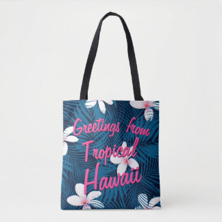 Navy palm leaves with frangipani tote bag