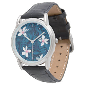 Navy palm leaves with frangipani wristwatches