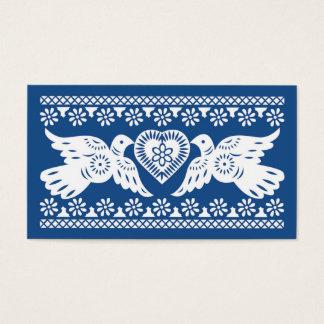 Navy Papel Picado Lovebirds Place card