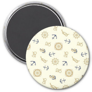 Navy pattern blue anchors 3 inch round magnet