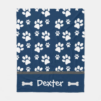 Navy Paw Print Large Blanket Great for Dogs