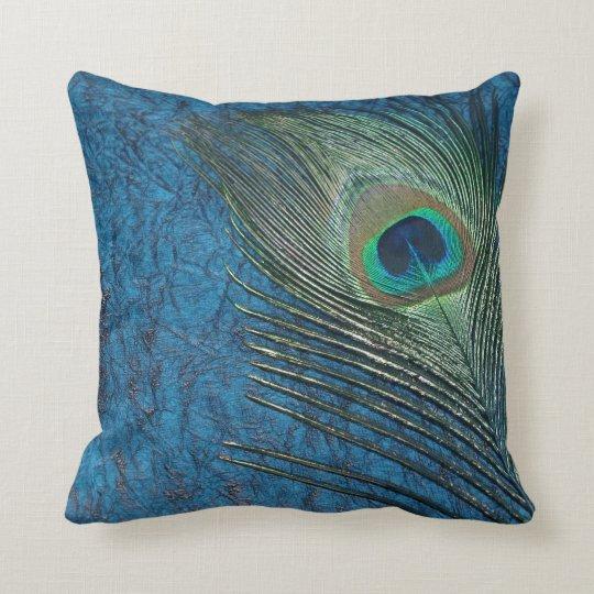Navy Peacock Throw Pillow