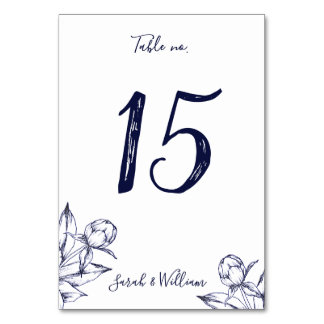 Navy Peony Simple Table Numbers Card
