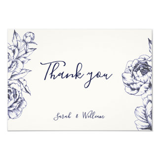 Navy Peony Simple Thank You Card