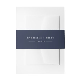 Navy Personalized Wedding Invitation Belly Band