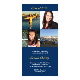 Navy picture block graduation announcement invite photo cards