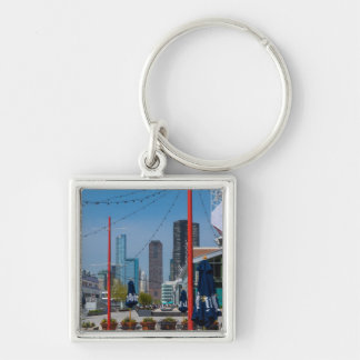 Navy Pier Lines Silver-Colored Square Keychain