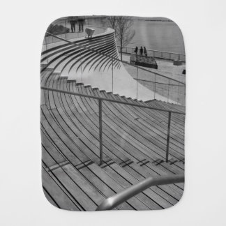Navy Pier Stairs Grayscale Baby Burp Cloths