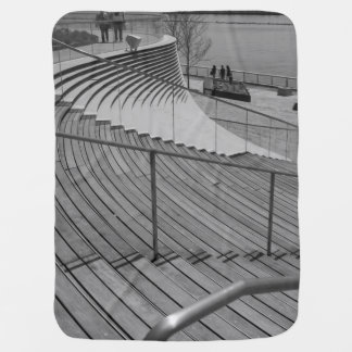 Navy Pier Stairs Grayscale Swaddle Blanket