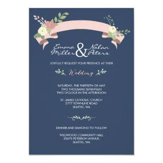 NAVY PINK FLORAL BANNER WEDDING INVITATION