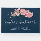 Navy pink floral elegant wedding guestbook