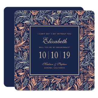 Navy & Pink Floral & Plant Pattern - Bridesmaid Card