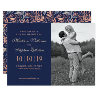 Navy & Pink Floral & Plant Pattern - Save the Date Card