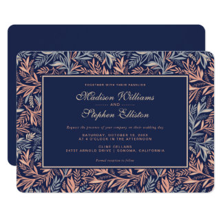 Navy & Pink Floral & Plant Pattern - Wedding Card