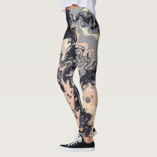 "Navy, Pink, Lavender Abstract Leggings - ""Cha Cha"""