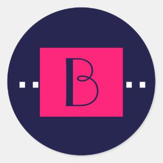 Navy Pink Monogram B Wedding Stickers