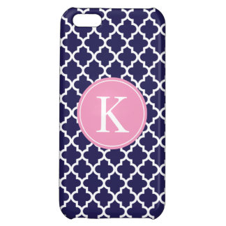 Navy Pink Moroccan Monogram | Apple iPhone 5 iPhone 5C Cases