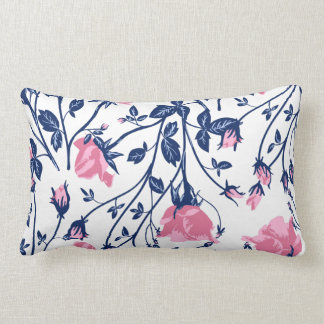 Navy & Pink Rose Floral Flower Print Lumbar Pillow