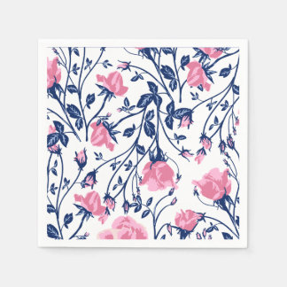 Navy & Pink Rose Floral Flower Print Paper Napkins