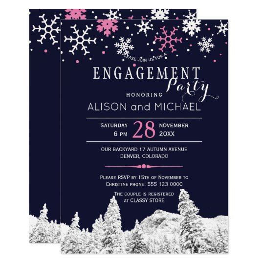 Navy pink snowflakes winter engagement party card