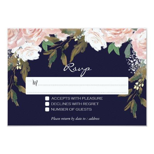 navy pink wedding rsvp card floral modern