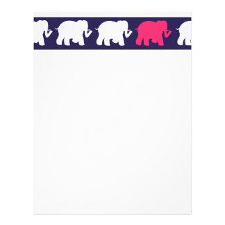 Navy, Pink & white elephants design Custom Letterhead