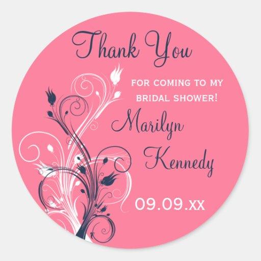 Navy Pink White Floral Bridal Shower Sticker