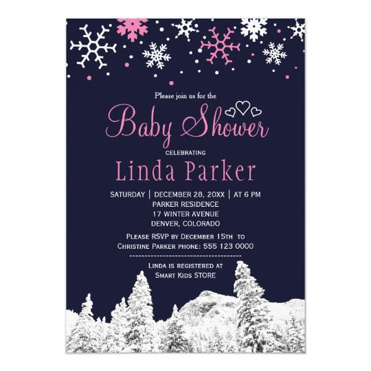 Navy pink white wonderland winter baby shower card