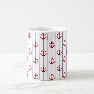 Navy Pinstripe and Red Anchors Mug