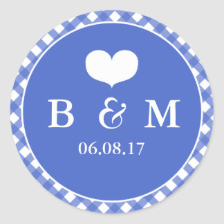Navy Plaid Monogram Wedding Envelop Seal Sticker