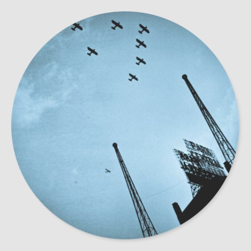 Navy Planes Fly Over Park Central Hotel NYC Cyan Round Sticker