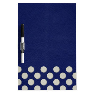 Navy Polka Dots on white Leather print Dry-Erase Board