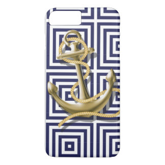 navy preppy pattern nautical anchor iPhone 7 plus case