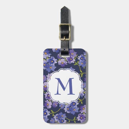 Navy & Purple Floral Personalised Luggage Tag