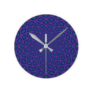 Navy Purple Flower Round Clock