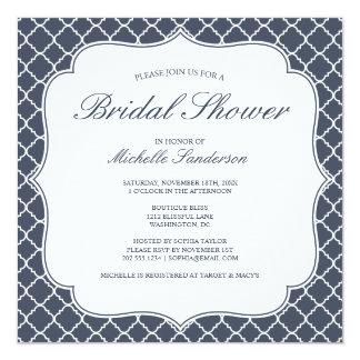Navy Quatrefoil Bridal Shower Card