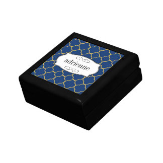 Navy quatrefoil clover leaf pattern personalized gift boxes