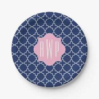 Navy Quatrefoil + Pink Monogram Paper Plate