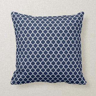 Navy Quatrefoil Throw Pillow