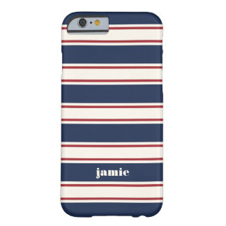 Navy, Red and Cream Rugby Stripe Barely There iPhone 6 Case
