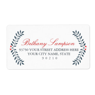Navy & Red Floral Address Labels
