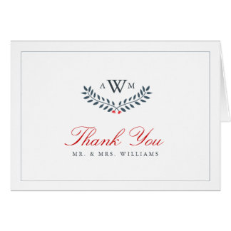 Navy & Red Floral Monogram Thank You Card