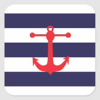 Navy & Red Nautical Pattern Square Sticker