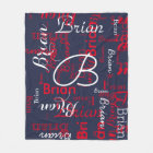 navy & red pattern of names fleece blanket