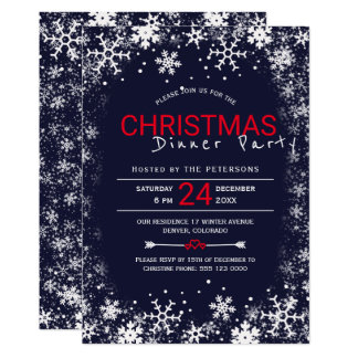 Navy red white snowflakes Christmas dinner party Card