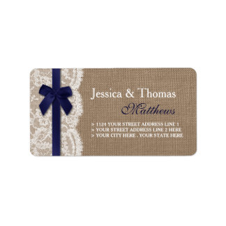 Navy Ribbon On Burlap & Lace Wedding Label