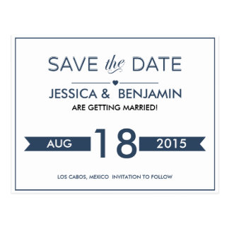 Navy Ribbon Save the Date Postcard