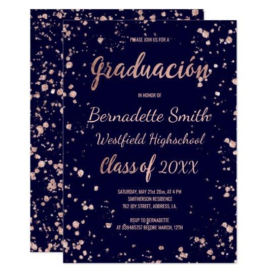 Navy rose gold confetti graduation spanish card